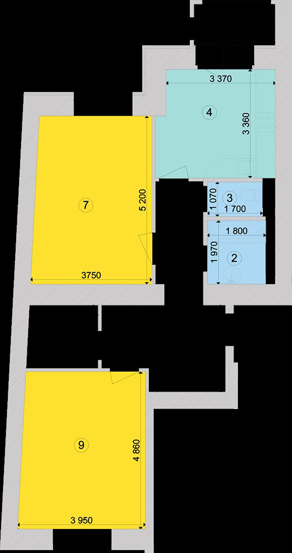 Купити Двокімнатна квартира 75,32 кв.м., тип 2.2, будинок 1, секція 6 в Києві Голосіївський район