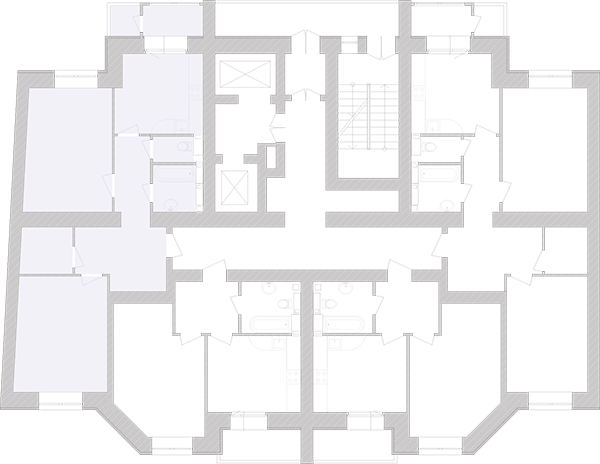 Двухкомнатная квартира 75,32 кв.м., тип 2.2, дом 1, секция 6 расположение на этаже