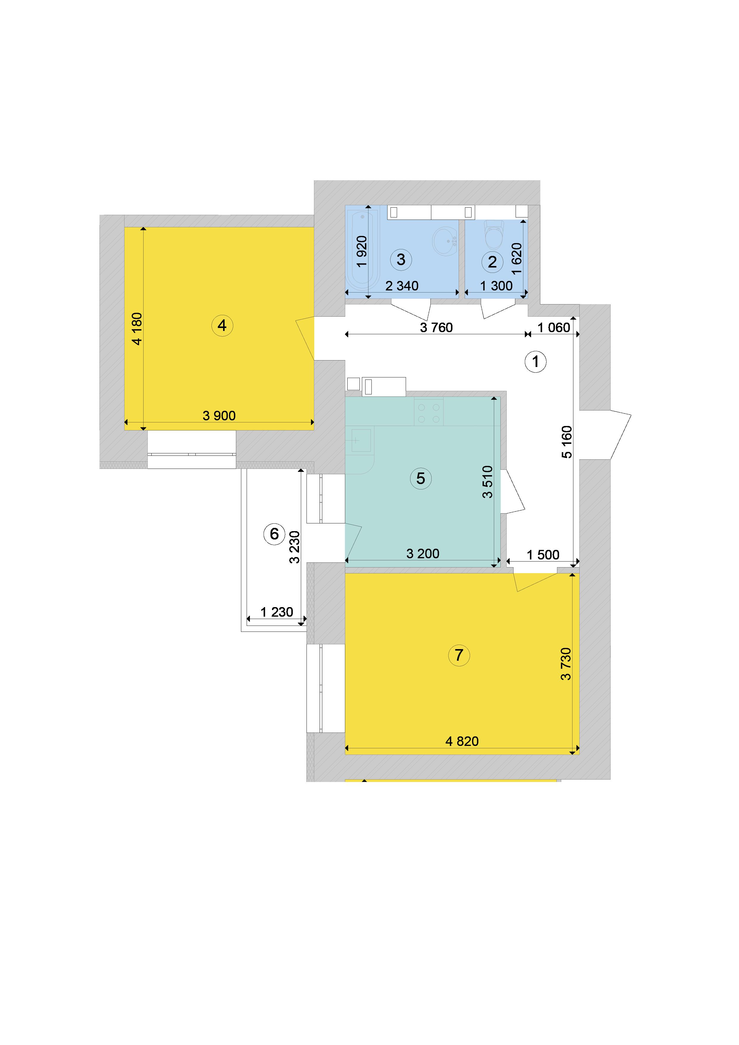 Купити Двокімнатна квартира 64,97 кв.м., тип 2.2, будинок 1, секція 7 в Києві Голосіївський район