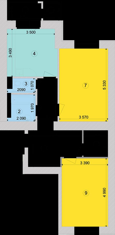 Купити Двокімнатна квартира 74,26 кв.м., тип 2.3, будинок 1, секція 4 в Києві Голосіївський район