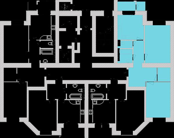 Двокімнатна квартира 74,26 кв.м., тип 2.3, будинок 1, секція 4 розташування на поверсі