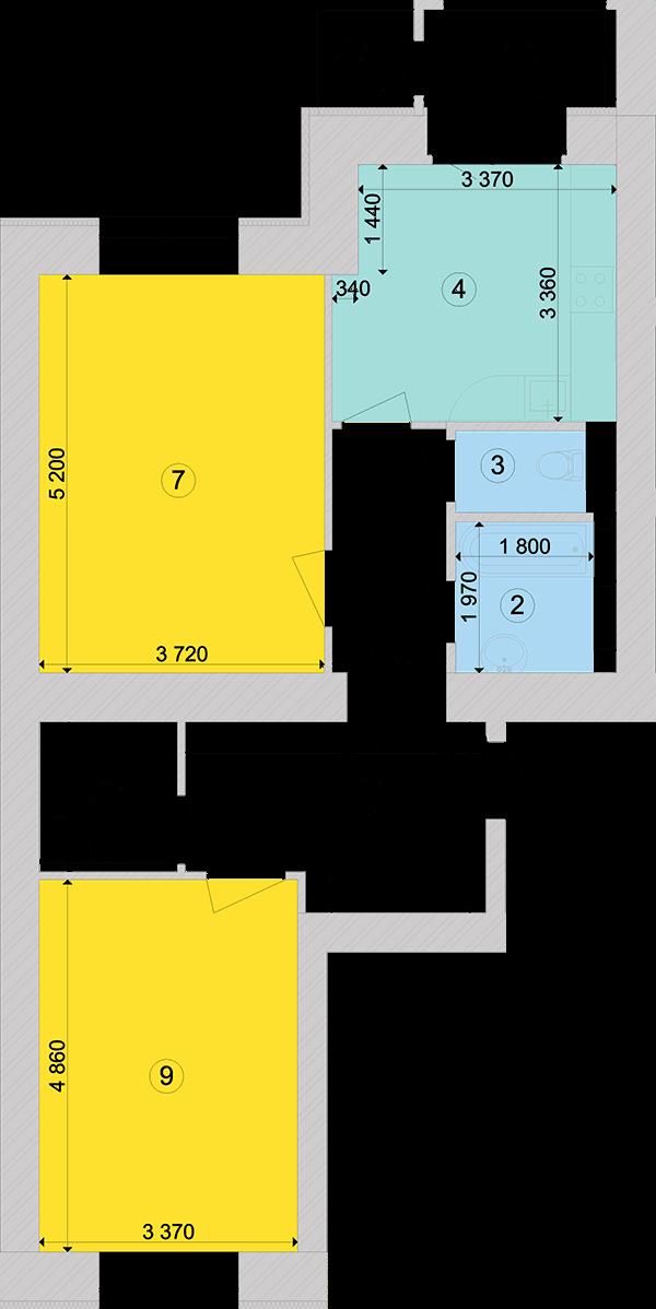 Купити Двокімнатна квартира 72,79 кв.м., тип 2.3, будинок 1, секція 5 в Києві Голосіївський район