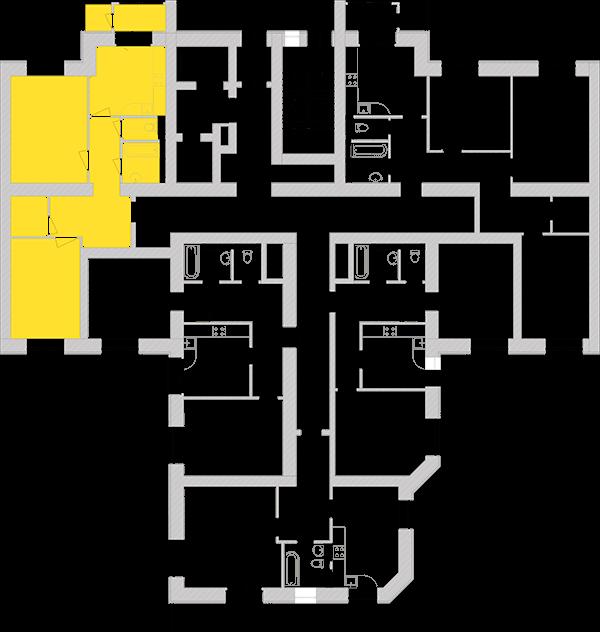 Двухкомнатная квартира 72,79 кв.м., тип 2.3, дом 1, секция 5 расположение на этаже