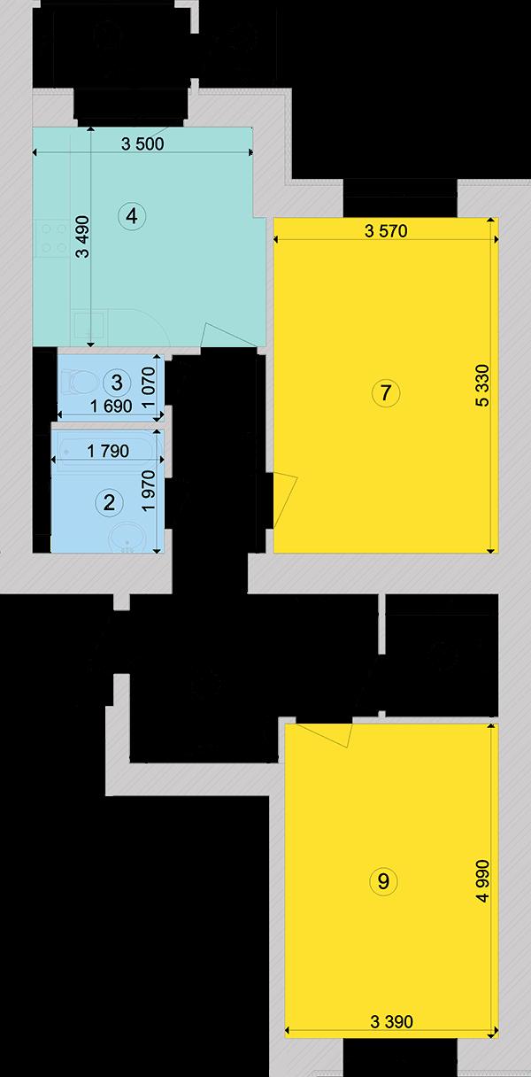 Купити Двокімнатна квартира 74,08 кв.м., тип 2.3, будинок 1, секція 6 в Києві Голосіївський район