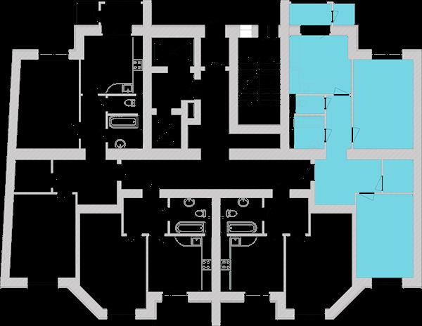 Двухкомнатная квартира 74,08 кв.м., тип 2.3, дом 1, секция 6 расположение на этаже