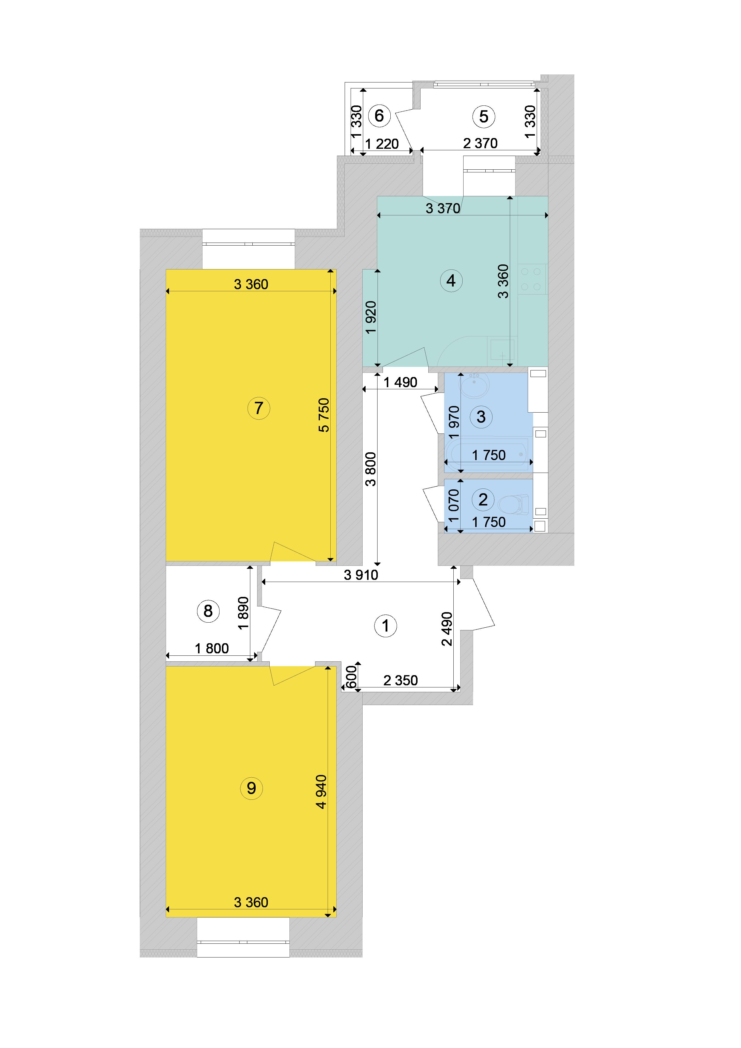Купити Двокімнатна квартира 72,49 кв.м., тип 2.3, будинок 1, секція 7 в Києві Голосіївський район
