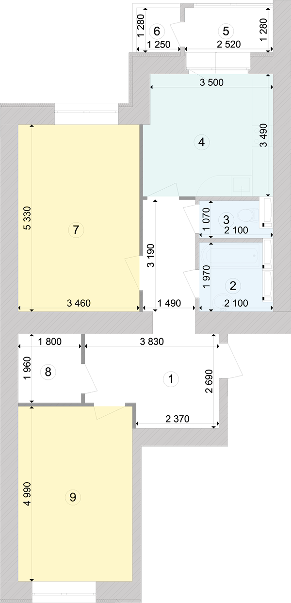 Купити Двокімнатна квартира 72,83 кв.м., тип 2.4, будинок 1, секція 4 в Києві Голосіївський район