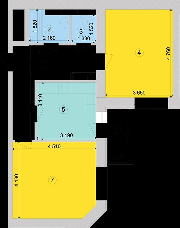 Купити Двокімнатна квартира 62,86 кв.м., тип 2.4, будинок 1, секція 5 в Києві Голосіївський район