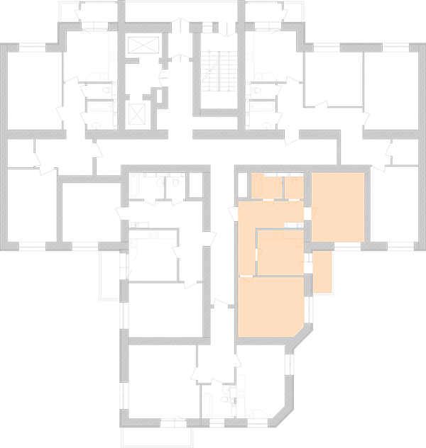 Двокімнатна квартира 62,86 кв.м., тип 2.4, будинок 1, секція 5 розташування на поверсі