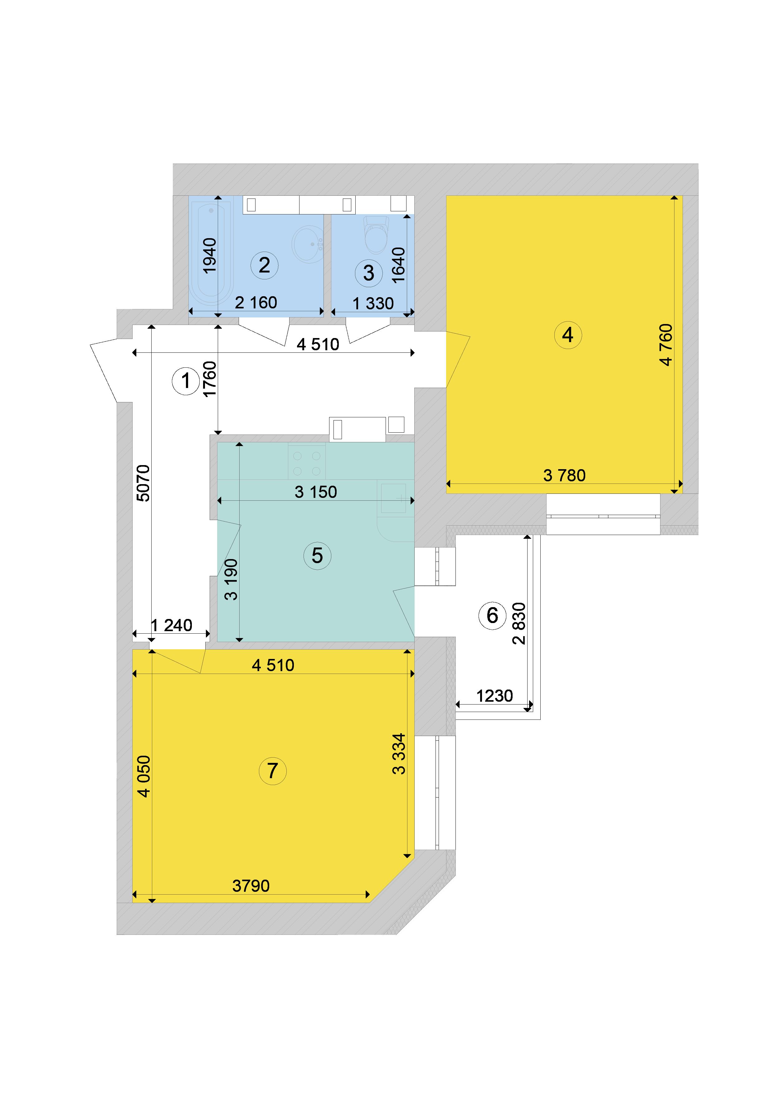 Купити Двокімнатна квартира 63,46 кв.м., тип 2.4, будинок 1, секція 7 в Києві Голосіївський район