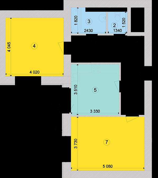 Купити Двокімнатна квартира 67,72 кв.м., тип 2.5, будинок 1, секція 5 в Києві Голосіївський район