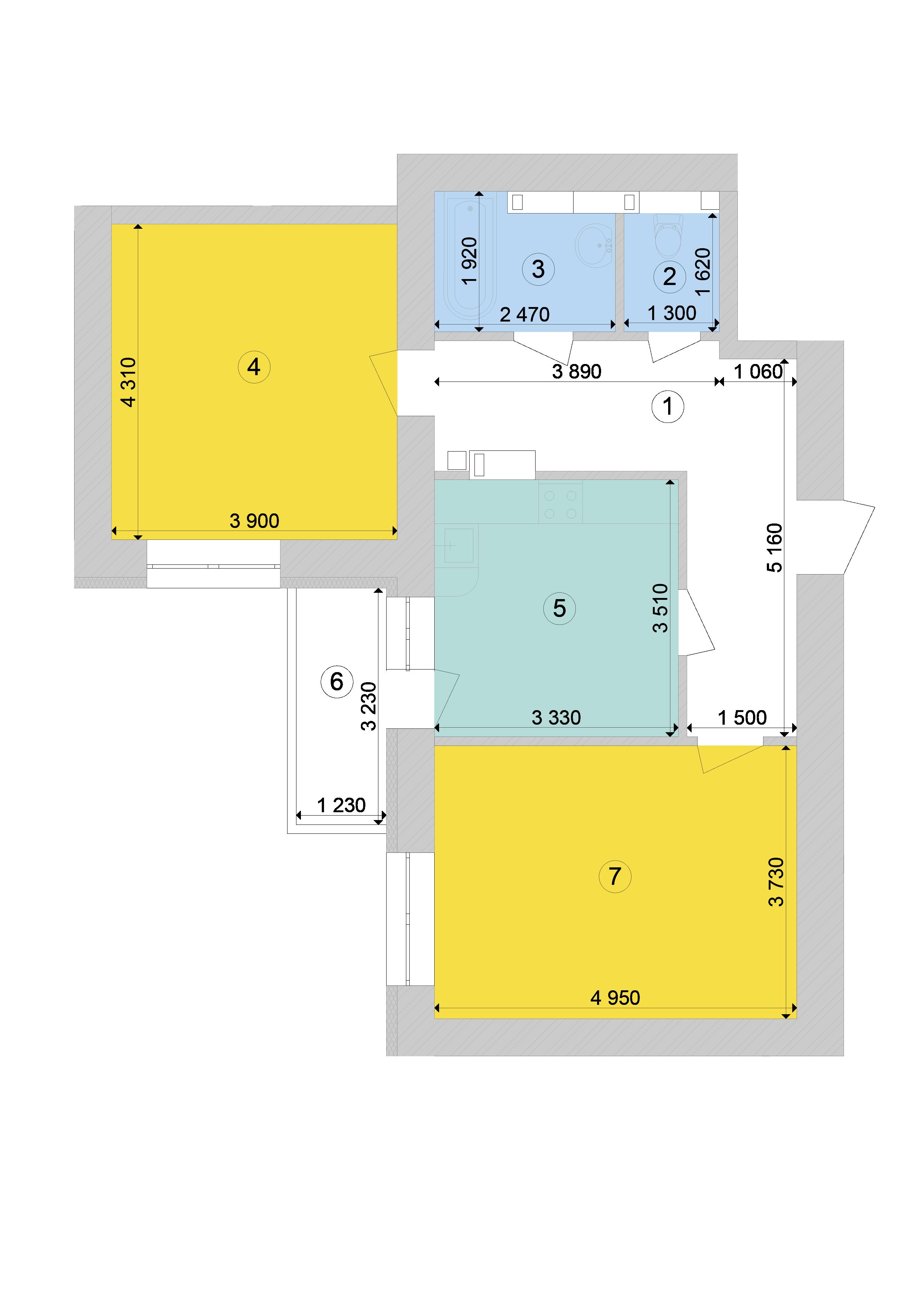 Купити Двокімнатна квартира 66,81 кв.м., тип 2.5, будинок 1, секція 7 в Києві Голосіївський район