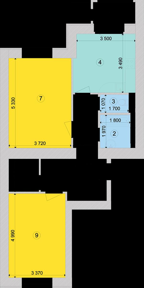 Купити Двокімнатна квартира 74,34 кв.м., тип 2.6, будинок 1, секція 5 в Києві Голосіївський район
