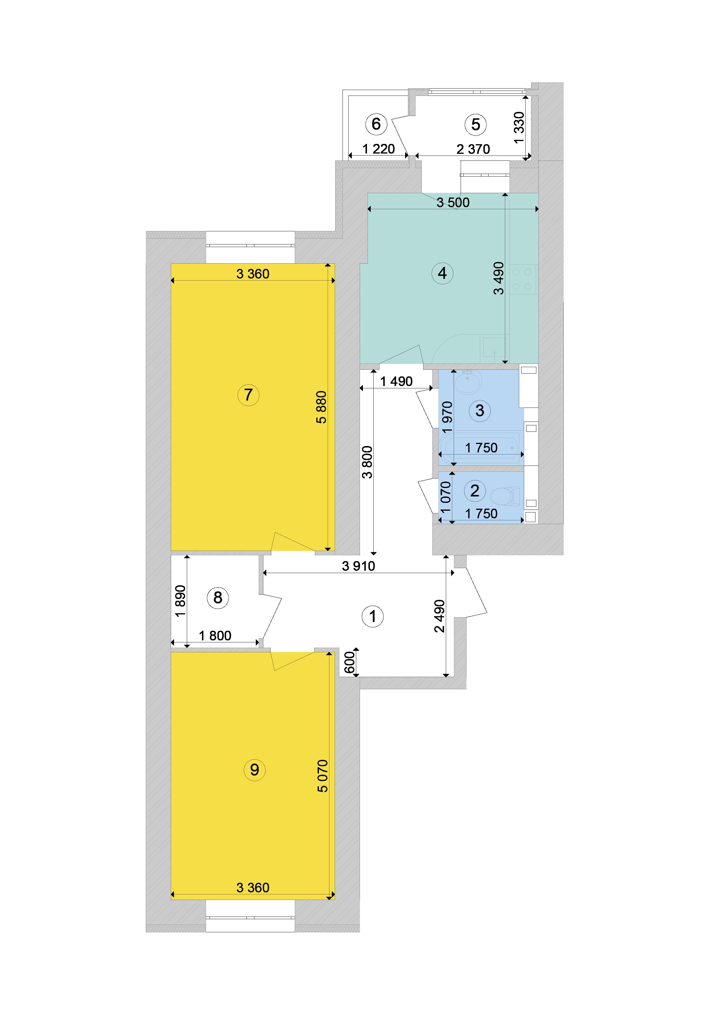 Купити Двокімнатна квартира 73,99 кв.м., тип 2.6, будинок 1, секція 7 в Києві Голосіївський район