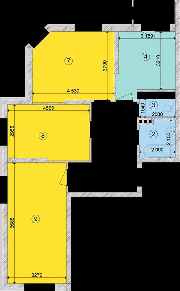 Купити Трикімнатна квартира 85,44 кв.м., тип 3.1, будинок 2, секція 1 в Києві Голосіївський район