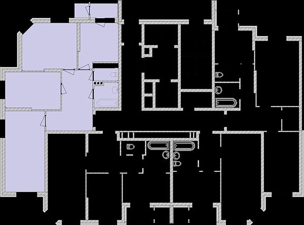 Трикімнатна квартира 85,44 кв.м., тип 3.1, будинок 2, секція 1 розташування на поверсі