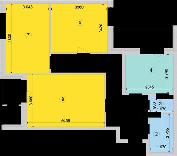 Купити Трикімнатна квартира 83,43 кв.м., тип 3.1, будинок 2, секція 2 в Києві Голосіївський район