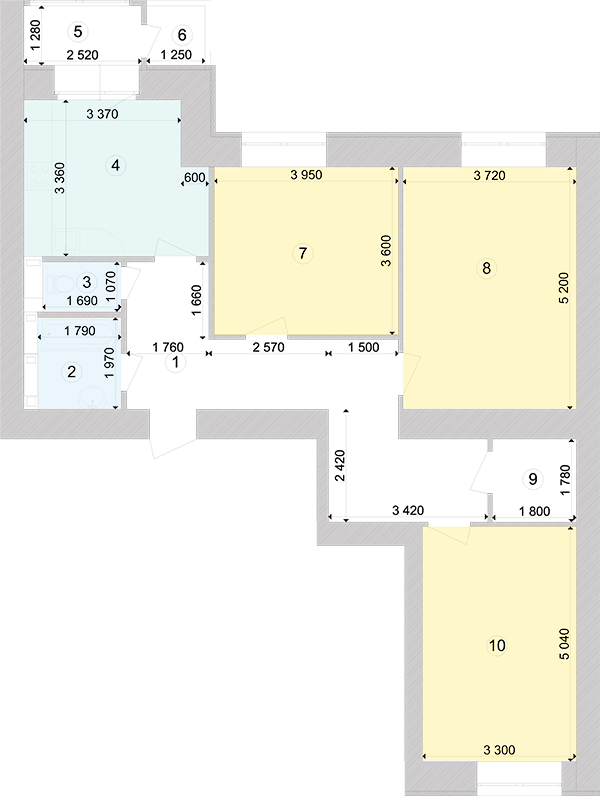 Купити Трикімнатна квартира 91,2 кв.м., тип 3.1, будинок 1, секція 5 в Києві Голосіївський район