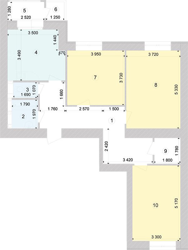Купити Трикімнатна квартира 93,28 кв.м., тип 3.2, будинок 1, секція 5 в Києві Голосіївський район