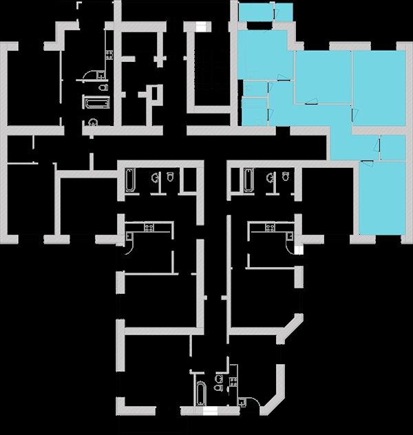 Трехкомнатная квартира 93,28 кв.м., тип 3.2, дом 1, секция 5 расположение на этаже