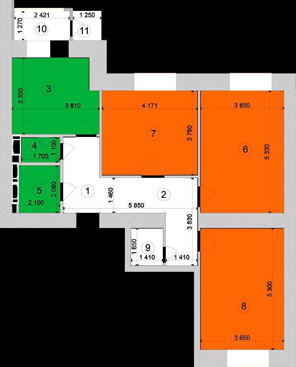 Купити Трикімнатна квартира 90,01 кв.м., тип 3.4, будинок 1, секція 3 в Києві Голосіївський район