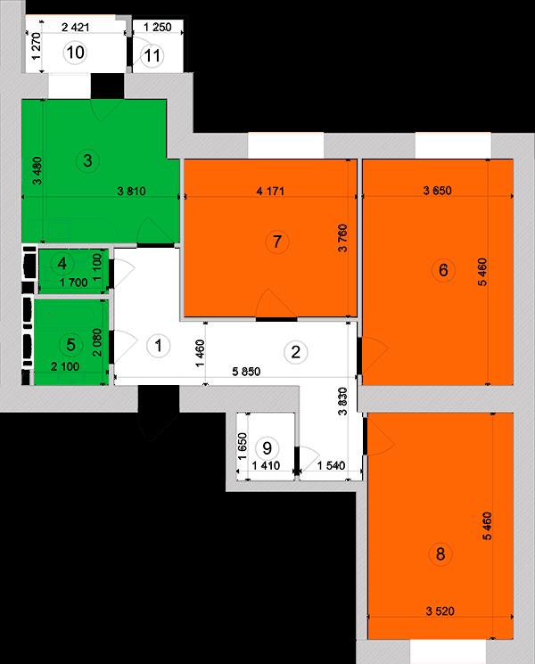 Купити Трикімнатна квартира 91,75 кв.м., тип 3.5, будинок 1, секція 3 в Києві Голосіївський район