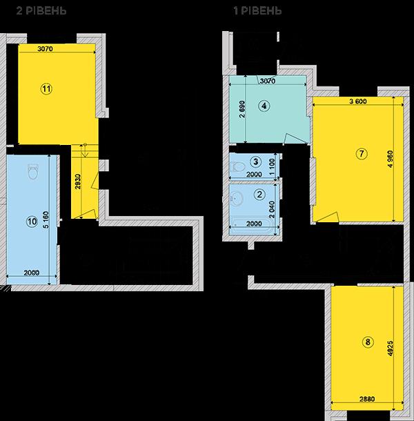 Купить Двухуровневая трехкомнатная квартира 97,54 кв.м., тип П1, дом 2, секция 1 в Киеве Голосеевский район