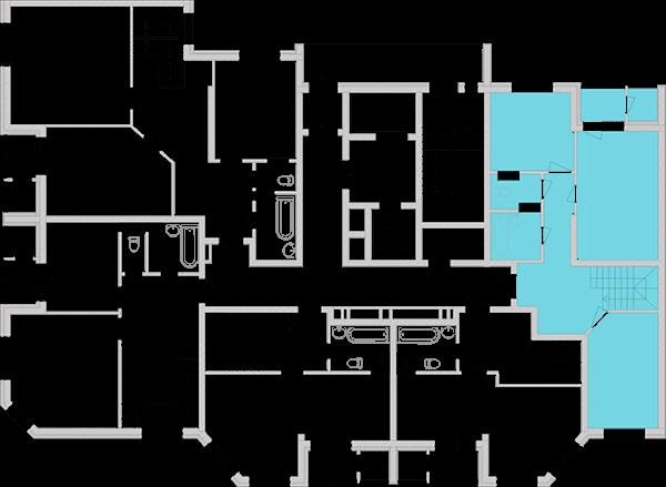 Двухуровневая двухкомнатная квартира 93,65 кв.м., тип П1, дом 2, секция 2 расположение на этаже