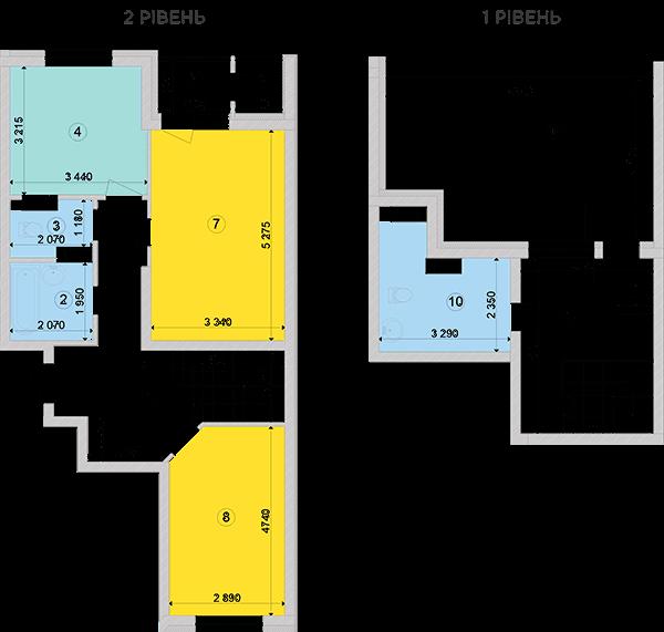 Купить Двухуровневая двухкомнатная квартира 93,65 кв.м., тип П1, дом 2, секция 3 в Киеве Голосеевский район
