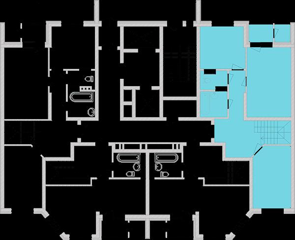 Двухуровневая двухкомнатная квартира 93,65 кв.м., тип П1, дом 2, секция 3 расположение на этаже