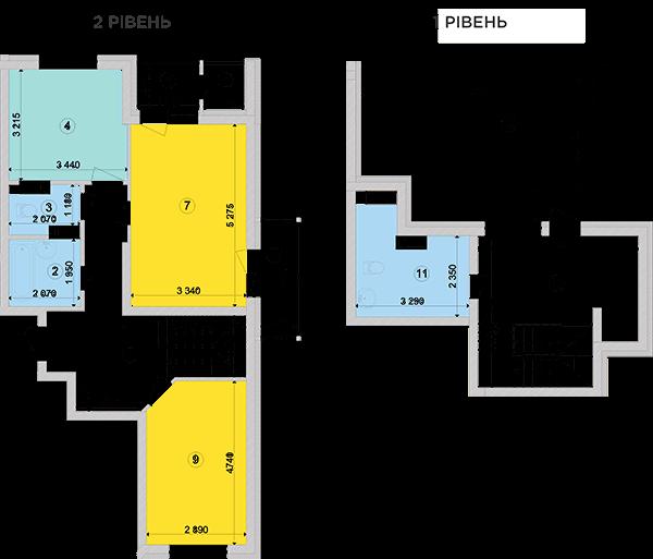 Купить Двухуровневая двухкомнатная квартира 99,69 кв.м., тип П1, дом 2, секция 4 в Киеве Голосеевский район