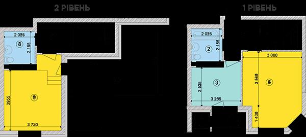 Купить Двухуровневая трехкомнатная квартира 76,94 кв.м., тип П2, дом 2, секция 1 в Киеве Голосеевский район