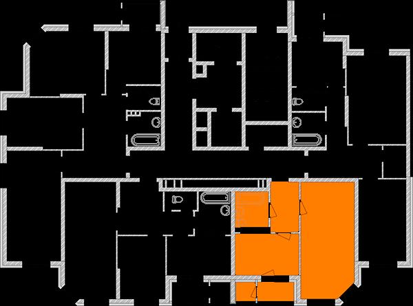 Двухуровневая трехкомнатная квартира 76,94 кв.м., тип П2, дом 2, секция 1 расположение на этаже
