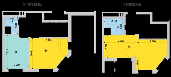 Купить Двухуровневая двухкомнатная квартира 80,53 кв.м., тип П2, дом 2, секция 2 в Киеве Голосеевский район