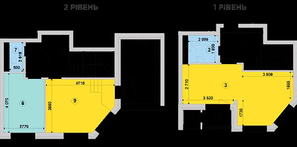 Купить Двухуровневая двухкомнатная квартира 80,35 кв.м., тип П2, дом 2, секция 3 в Киеве Голосеевский район