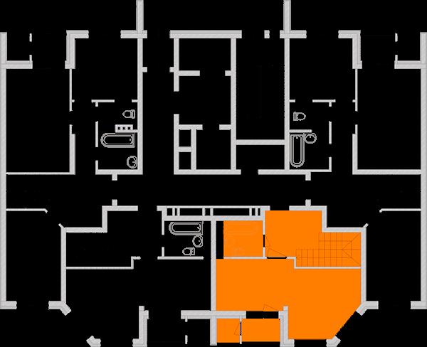 Двухуровневая двухкомнатная квартира 80,35 кв.м., тип П2, дом 2, секция 3 расположение на этаже