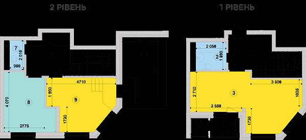 Купить Двухуровневая двухкомнатная квартира 80,02 кв.м., тип П2, дом 2, секция 4 в Киеве Голосеевский район