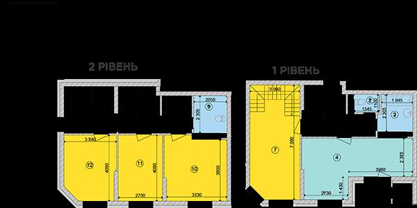 Купити Дворівнева квартира 128,21 кв.м., тип П3, будинок 2, секція 1 в Києві Голосіївський район