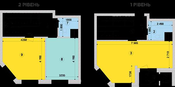 Купить Двухуровневая двухкомнатная квартира 81,19 кв.м., тип П3, дом 2, секция 2 в Киеве Голосеевский район