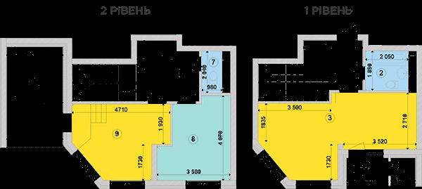 Купить Двухуровневая двухкомнатная квартира 79,95 кв.м., тип П3, дом 2, секция 3 в Киеве Голосеевский район