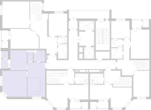 Двухуровневая двухкомнатная квартира 97,11 кв.м., тип П4, дом 2, секция 2 расположение на этаже
