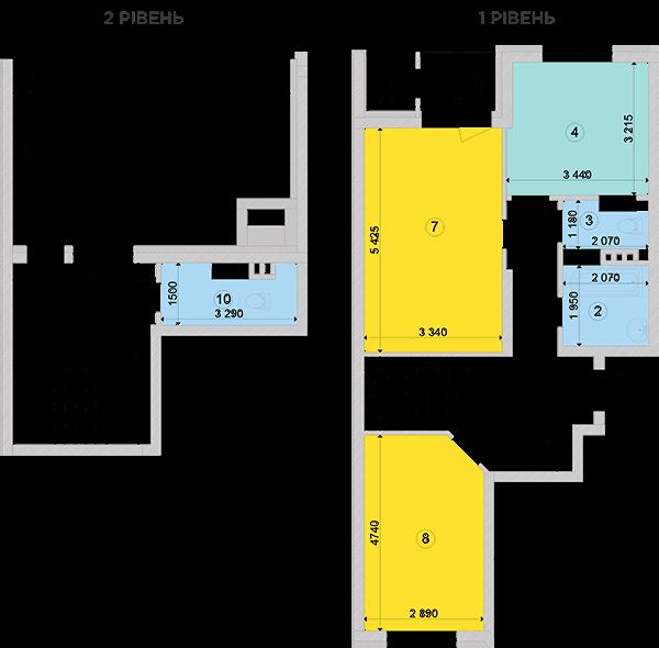 Купить Двухуровневая двухкомнатная квартира 89,65 кв.м., тип П4, дом 2, секция 3 в Киеве Голосеевский район