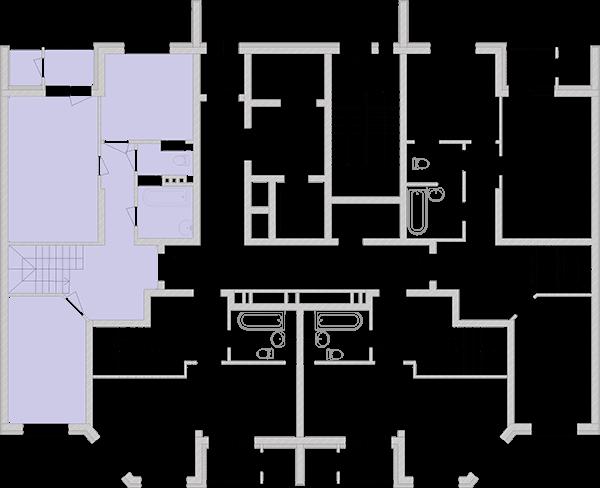 Дворівнева квартира 89,65 кв.м., тип П4, будинок 2, секція 3 розташування на поверсі