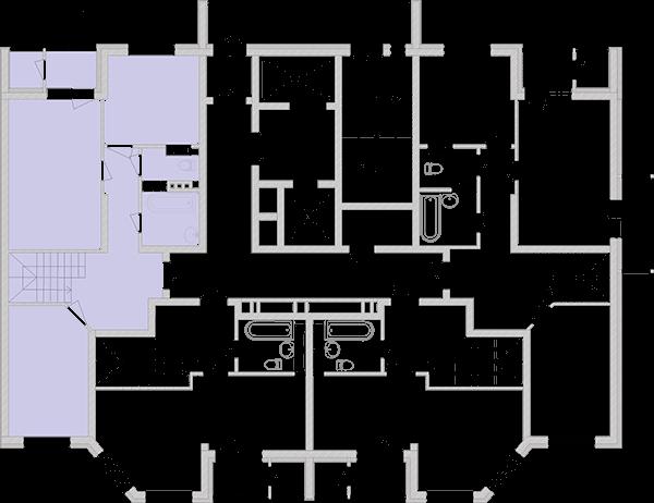 Двухуровневая двухкомнатная квартира 89,45 кв.м., тип П4, дом 2, секция 4 расположение на этаже