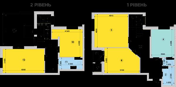Купить Двухуровневая четырехкомнатная квартира 146,89 кв.м., тип П5, дом 2, секция 2 в Киеве Голосеевский район