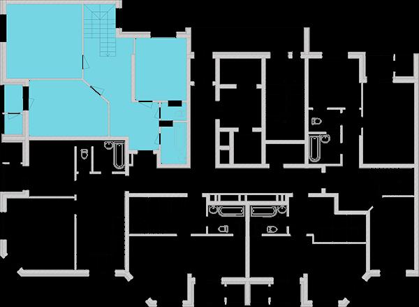 Дворівнева квартира 146,89 кв.м., тип П5, будинок 2, секція 2 розташування на поверсі