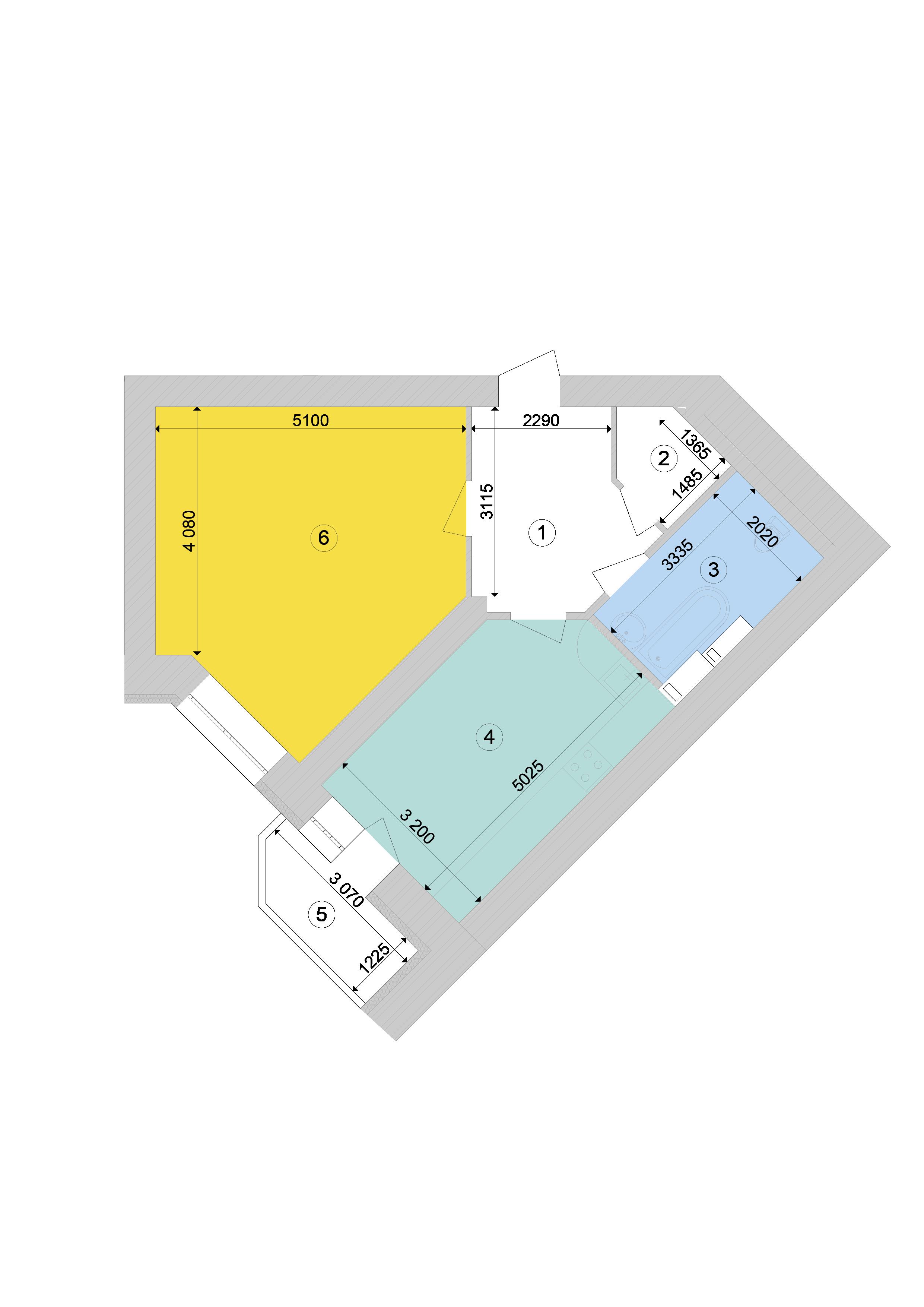 Купити Однокімнатна квартира 55,76 кв.м., тип 1.2, будинок 1, секція 9 в Києві Голосіївський район