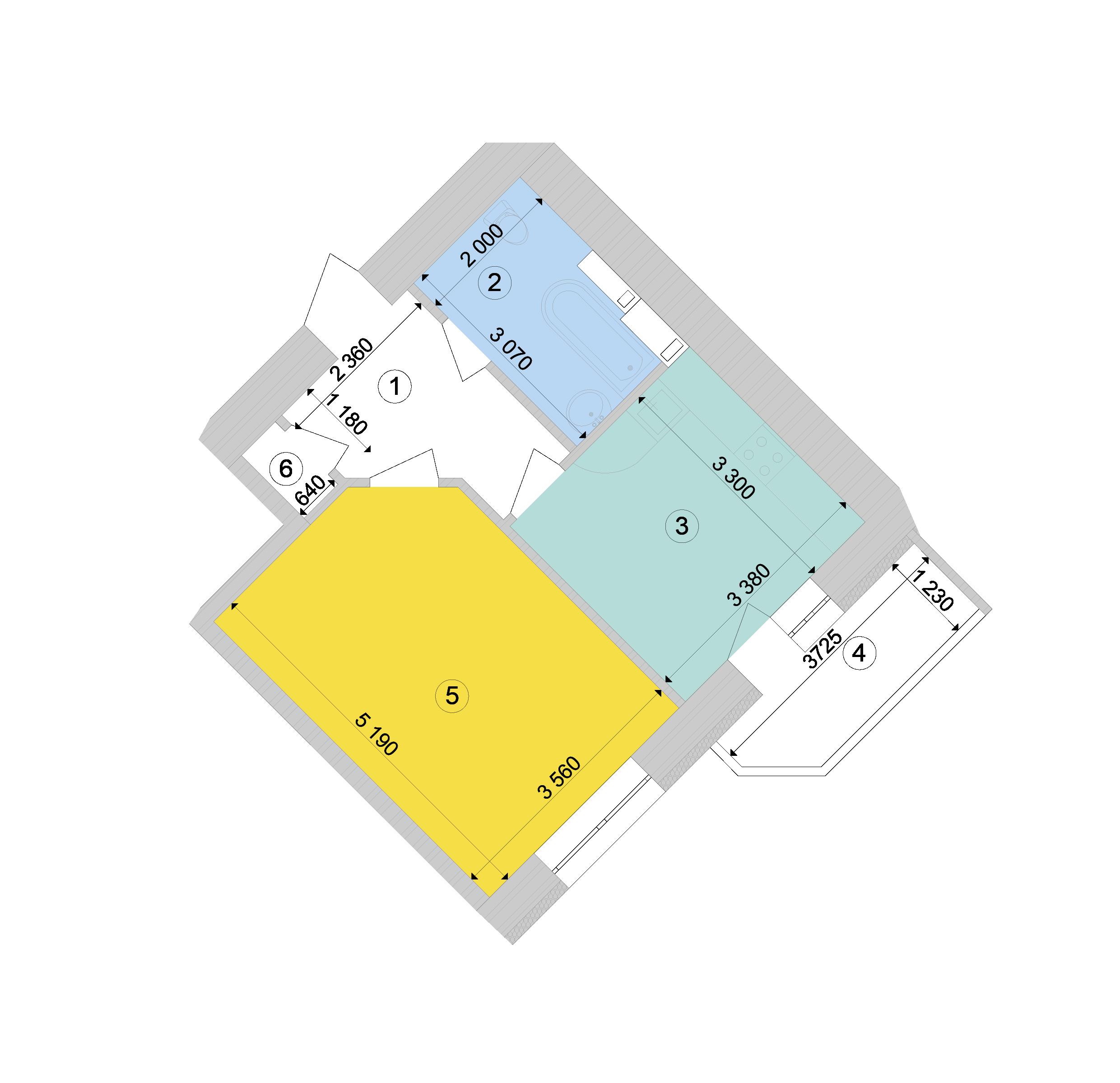 Купити Однокімнатна квартира 41,64 кв.м., тип 1.3, будинок 1, секція 9 в Києві Голосіївський район