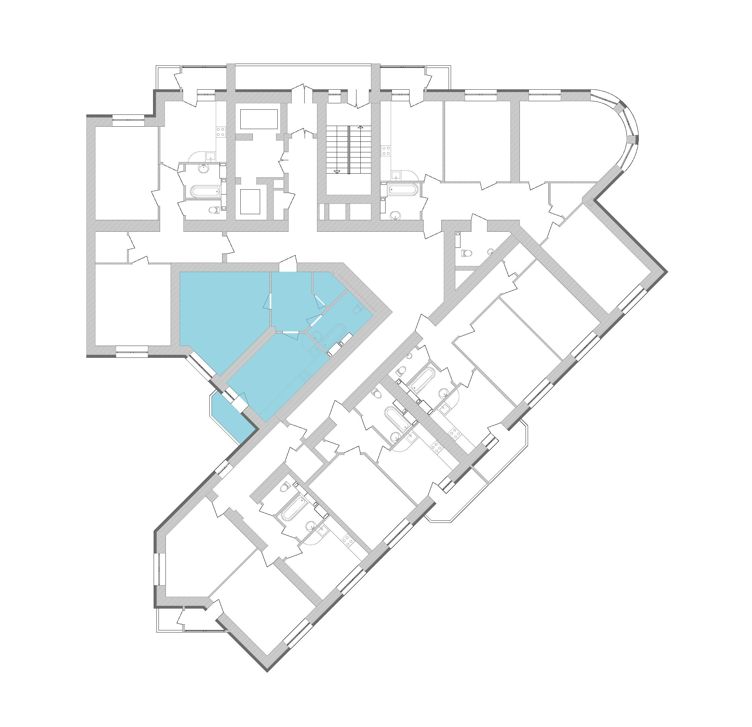 Однокімнатна квартира 56,56 кв.м., тип 1.4, будинок 1, секція 9 розташування на поверсі