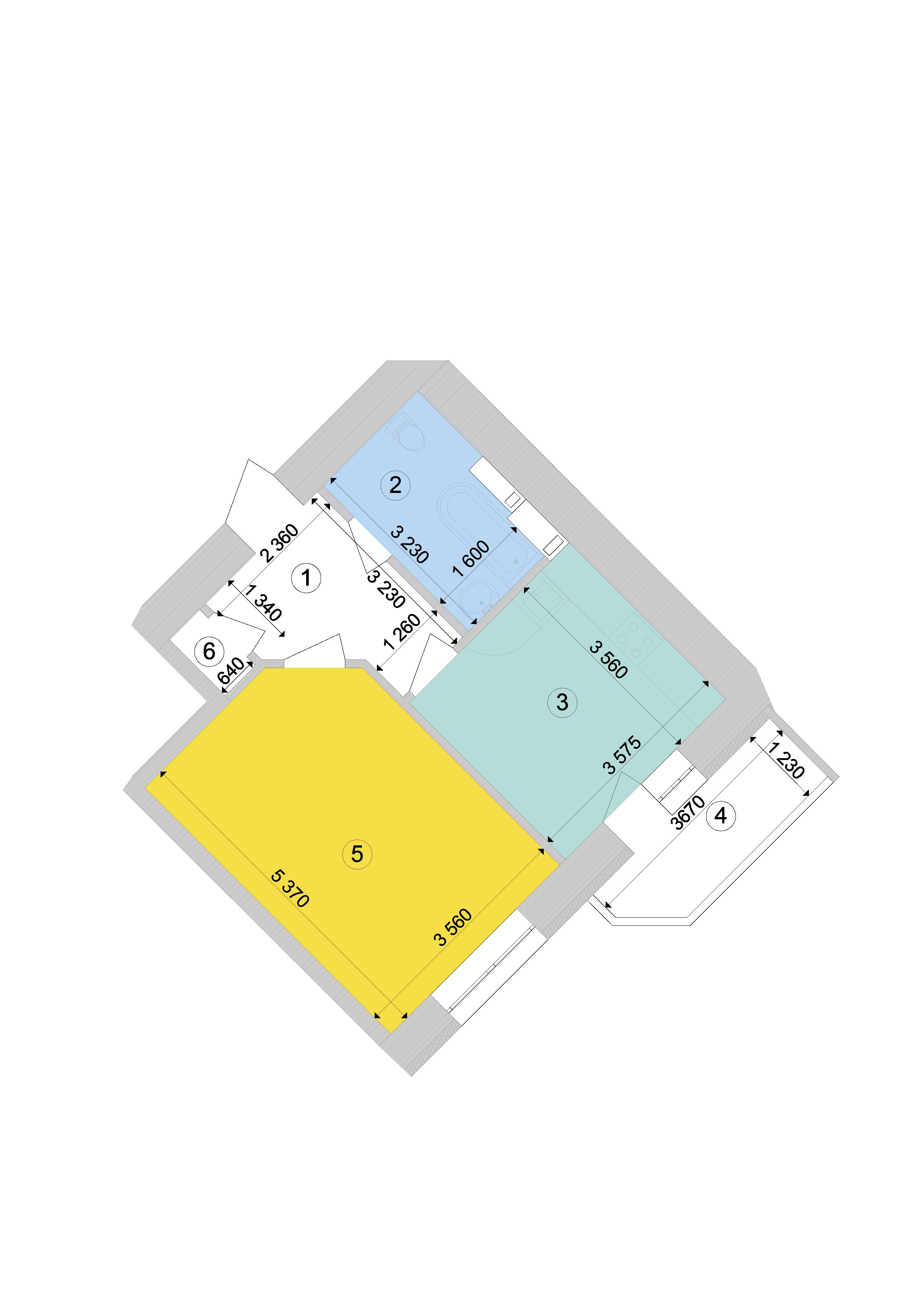 Купить Однокомнатная квартира 46,10 кв.м., тип 1.5, дом 1, секция 9 в Киеве Голосеевский район